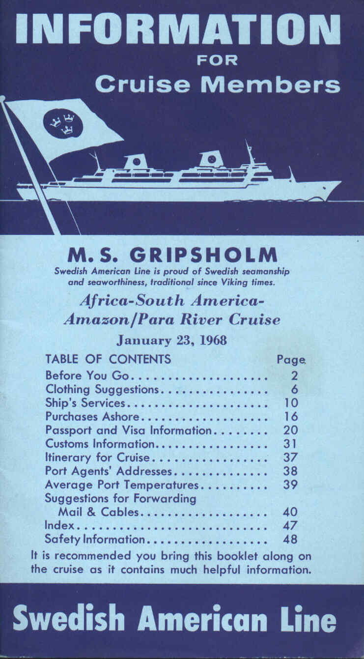 Information to cruise passengers...